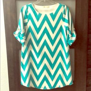 Turquoise & White Chevron Shift Dress